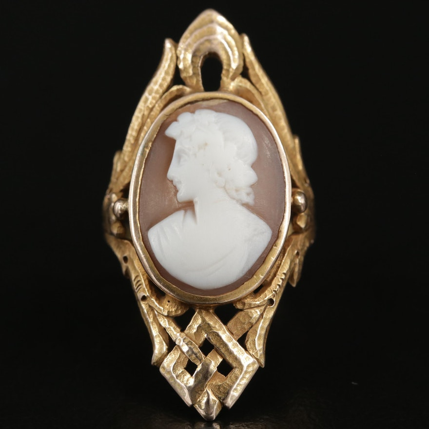 Antique Arts and Crafts 14K Gold Carved Helmet Shell Cameo Ring