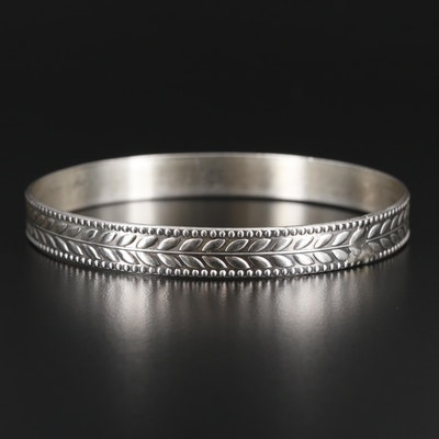 Sterling Silver Bangle with Leaf Motif
