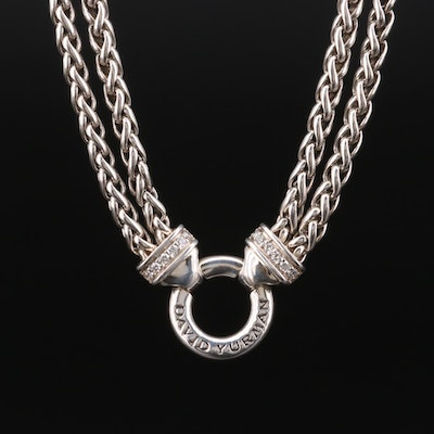 David Yurman Sterling Diamond Double Wheat Chain Necklace
