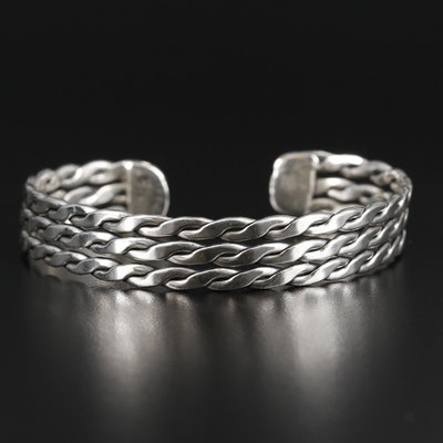 Mexican Sterling Silver Twisted Cuff Bracelet