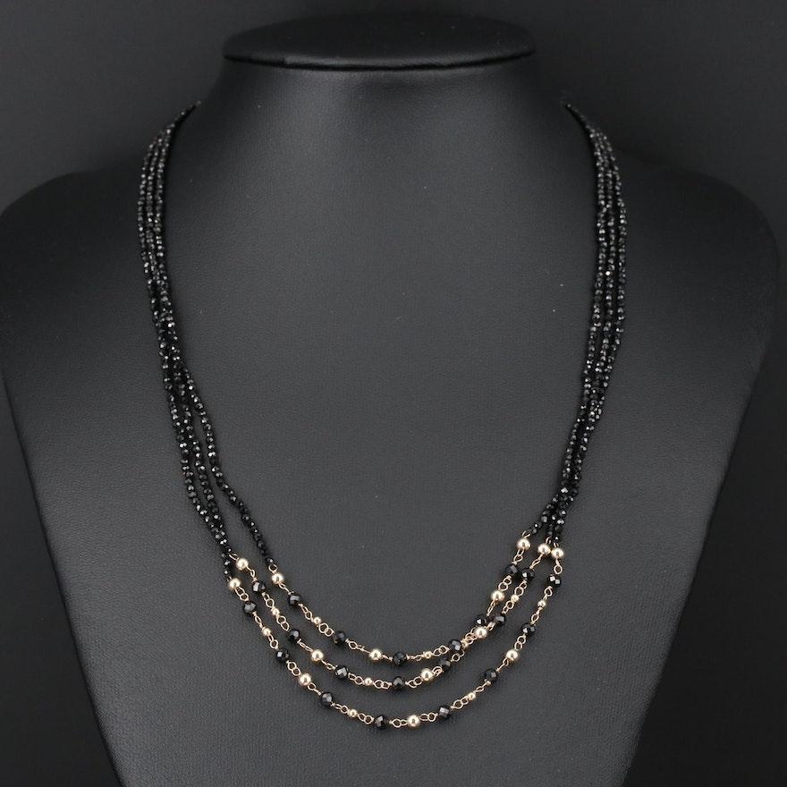 14K Gold Black Onyx Multi-Strand Beaded Necklace