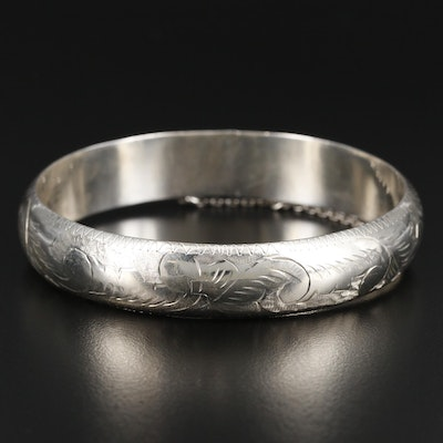 Sterling Silver Engraved Bangle Bracelet