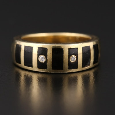 18K Gold Diamond and Black Coral Inlay Ring