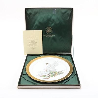 "Edward Marshall Boehm Porcelain ""Bird of Peace"" Gilt Rim Collectors Plate"