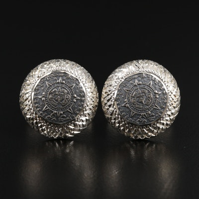 Mexican Sterling Silver Mesoamerican Calendar Motif Cufflinks