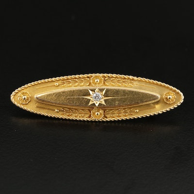 Victorian 14K Gold Diamond Converter Brooch