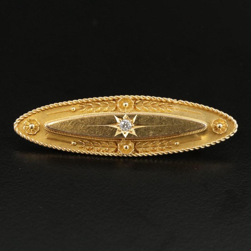 Victorian 14K Gold Diamond Converter Brooch
