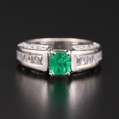 14K White Gold Emerald and Cubic Zirconia Ring