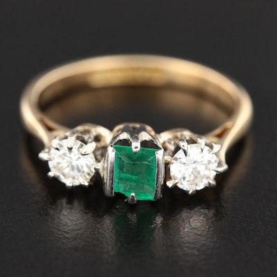 18K Yellow Gold Emerald and Diamond Three Stone Ring