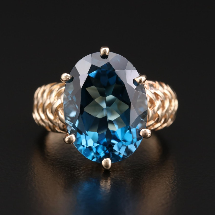 10K Gold 10.67 CT Blue Topaz Ring with Basket Weave Motif