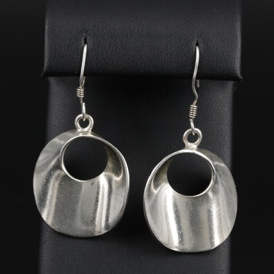 Modernist Sterling Silver Drop Earrings