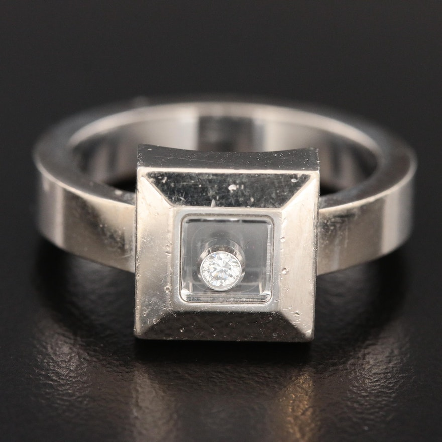 """Chopard 18K White Gold 0.04 CT """"Happy Diamond"""" Solitaire Square Ring"""