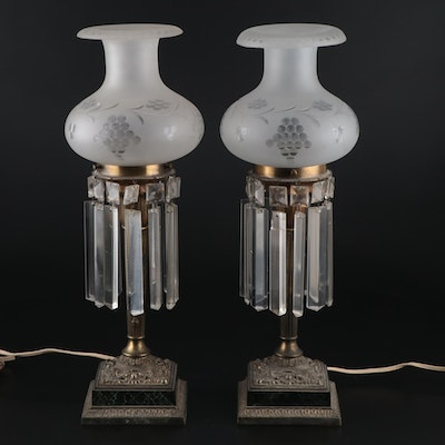 Pair of Victorian Brass and Marble Candlestick Lamps with Lusters, Early 20th C.