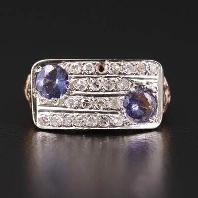 Vintage 14K Gold Tanzanite and Diamond Ring