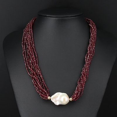 14K Gold Pearl and Garnet Multi-Strand Necklace