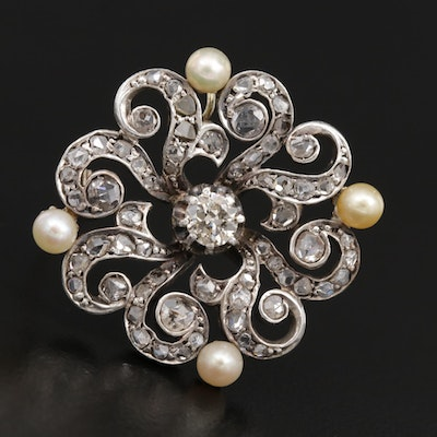 Circa 1900 14K Gold, Sterling, Diamond and Pearl Brooch