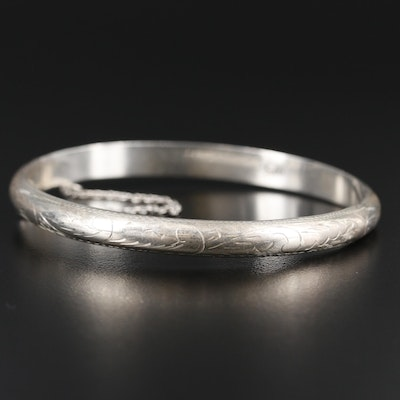 Sterling Silver Bangle with Engraved Detailing