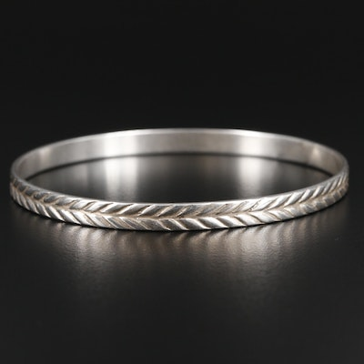Sterling Silver Bangle Bracelet with Chevron Pattern