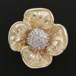 14K Yellow and White Gold Diamond Floral Pendant