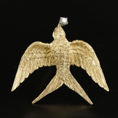 18K Yellow Gold Diamond and Ruby Swallow Brooch