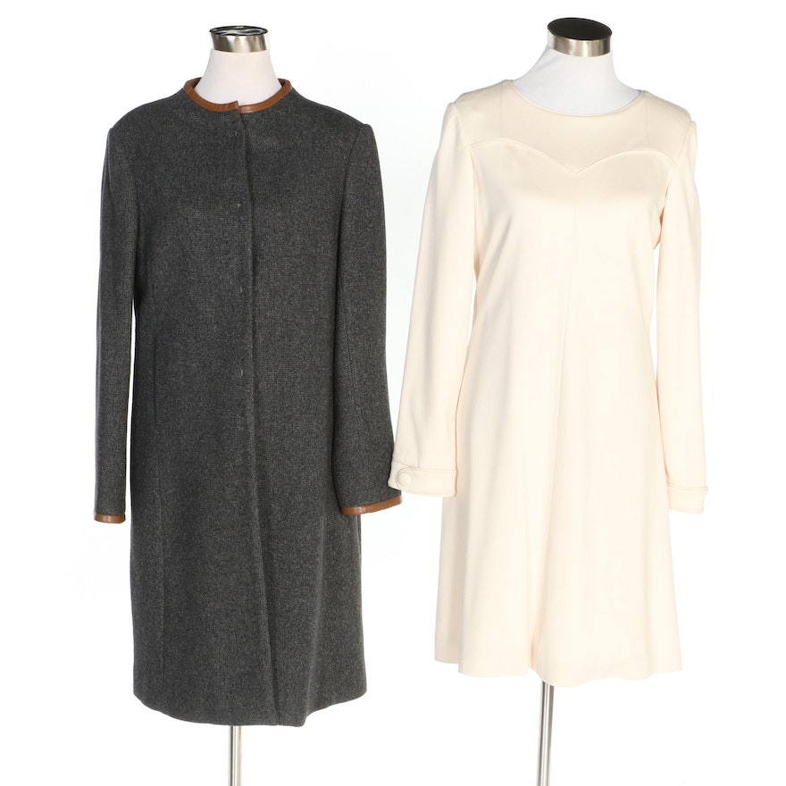 J. Peterman Sculpted Ivory-Colored Dress and Andean Style Swing Coat