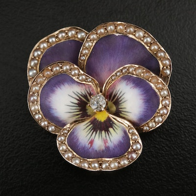 Art Nouvea 14K Gold Diamond and Seed Pearl Pansy Flower Pendant