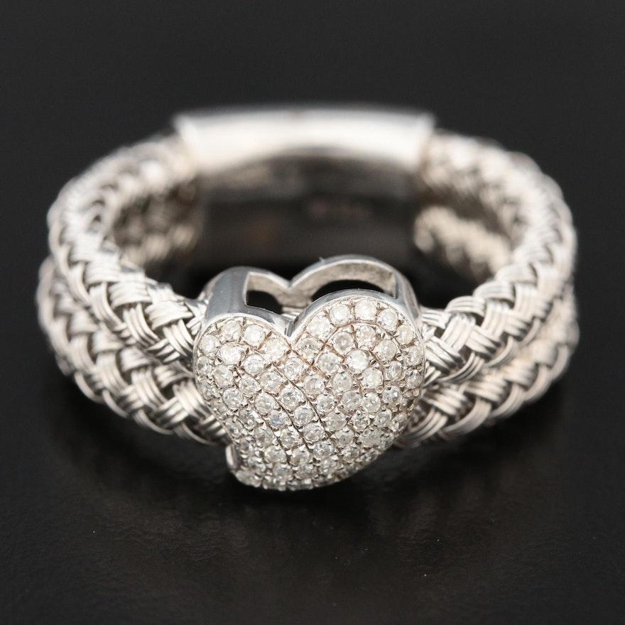 EFFY Sterling Silver Diamond Heart Ring