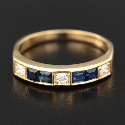 Charles Green & Son 18K Yellow Gold Sapphire and Diamond Ring