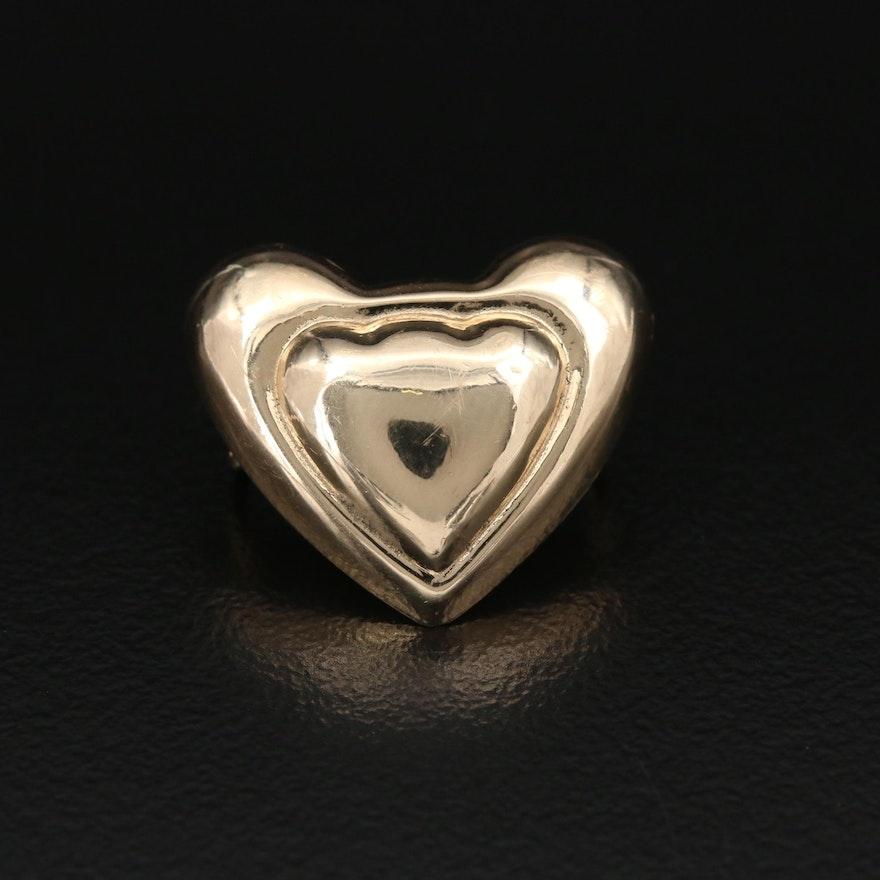 14K Yellow Gold Heart Slide Pendant