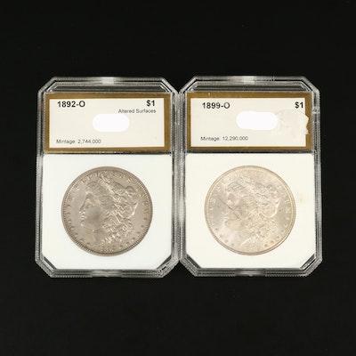 1892-O and 1899-O Morgan Silver Dollars