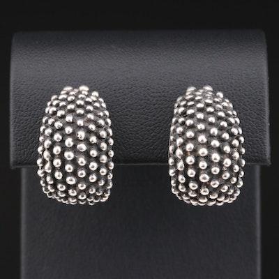 Zina Sterling Silver Textured J-Hoop Earrings