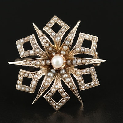 Circa 1900 10K Gold Seed and Cultured Peal Brooch
