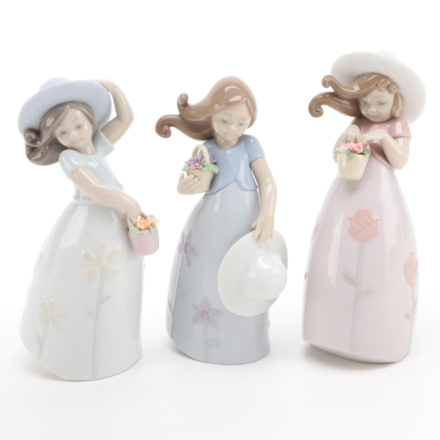 "Lladró ""Little Daisy,"" ""Little Rose,"" and ""Little Violet"" Porcelain Figurines"