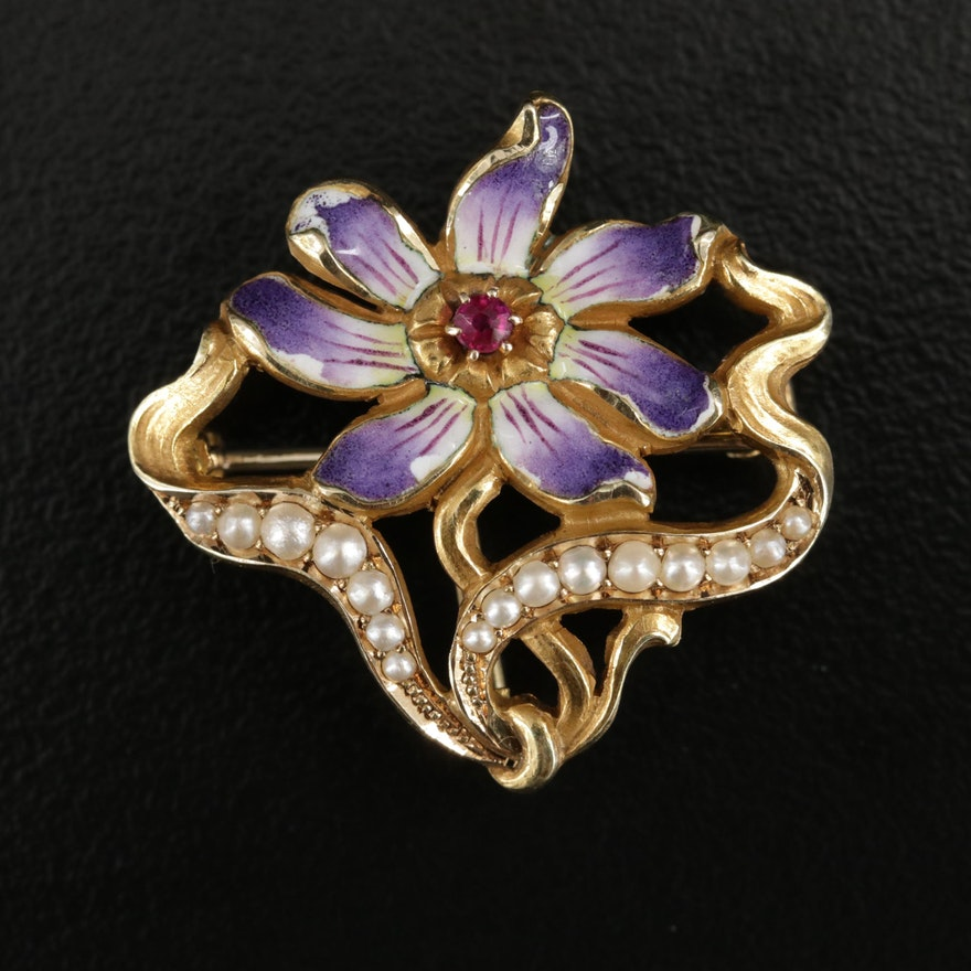 Art Nouveau 14K Gold Synthetic Ruby, Pearl and Enamel Floral Brooch