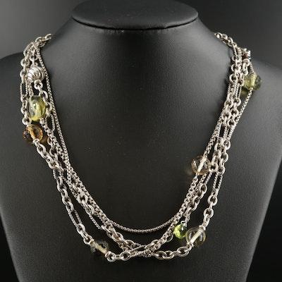 David Yurman Sterling Silver Citrine Multi-Strand Necklace