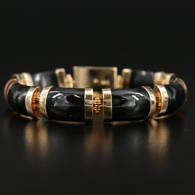 14K Yellow Gold Carved Black Onyx Bar Bracelet