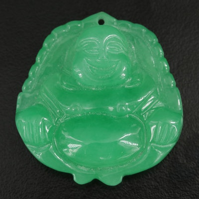 Carved Jadeite Buddha Pendant with GIA Report