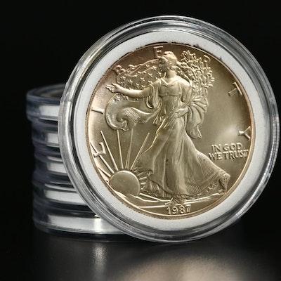 Six 1987 American Silver Eagle Bullion Coins
