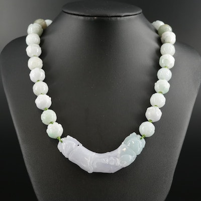 Carved Jadeite Adjustable Necklace