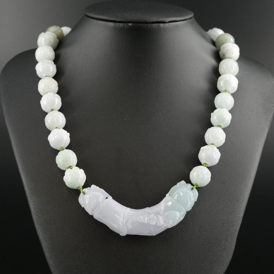Carved Jadeite Adjustable Necklace