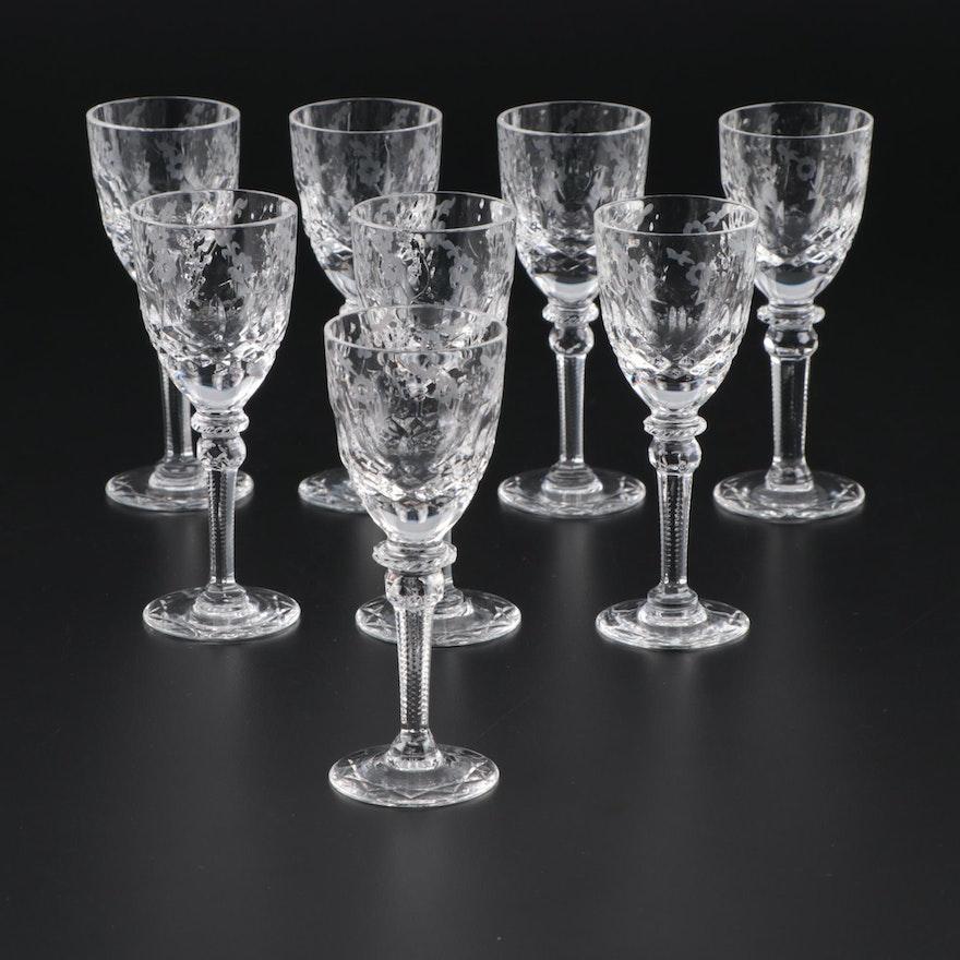 "Rogaska ""Gallia"" Cut Crystal Cordial Glasses, Late 20th Century"