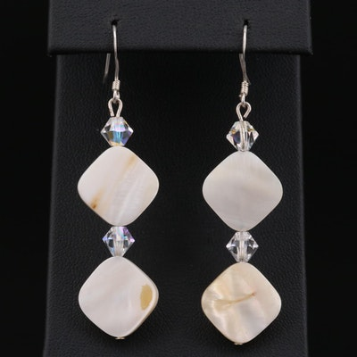 Sterling Silver Mother Of Pearl and Aurora Borealis Glass Bead Earrings