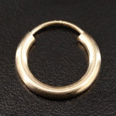14K Yellow Gold Hoop Single Earring