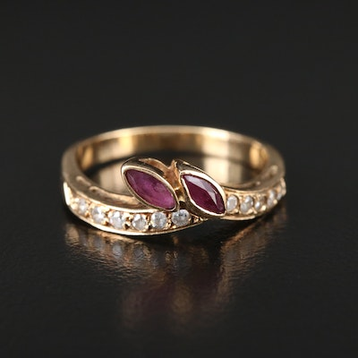 14K Yellow Gold Ruby and Cubic Zirconia Ring