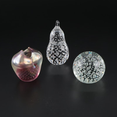 Signed Art Glass Bud Vase with Controlled Bubble Glass Paperweights