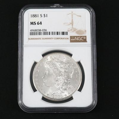 NGC Graded MS64 1881-S Silver Morgan Dollar