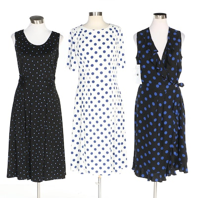 J. Peterman Polka Dotted Dresses Including Ruffle Wrap Dress