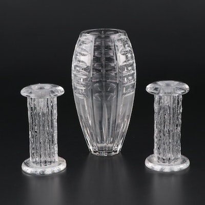Cut Glass Vase with Molded Glass Candle Holders
