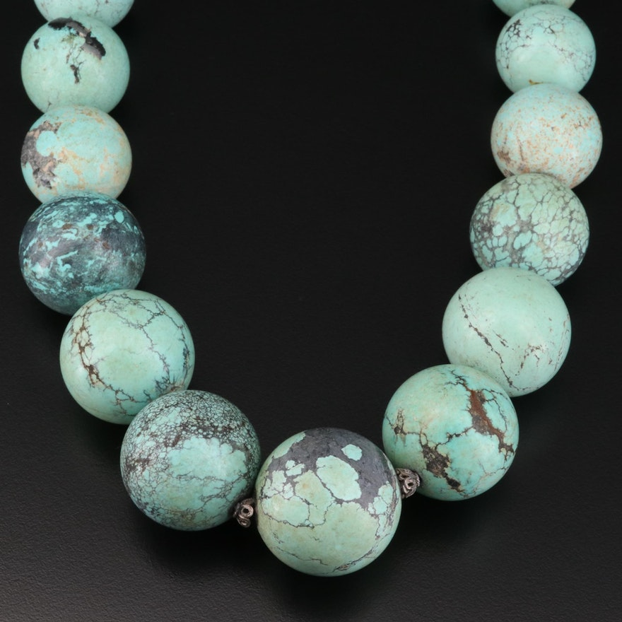 Endless Graduated Turquoise Bead Necklace
