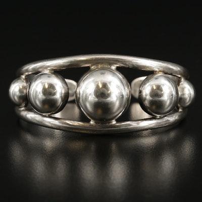 Taxco Sterling Silver Beaded Cuff Bracelet